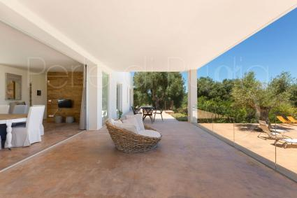 The beautiful veranda furnished for relaxation