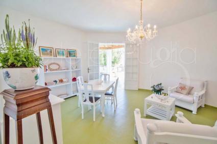 La villa si apre su un soggiorno chiaro e fresco