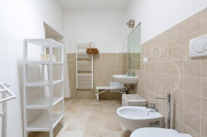The bathroom with shower is modern and spacious