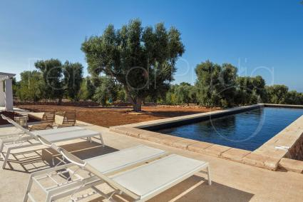 Elegant Prussian blue and panoramic view by the pool